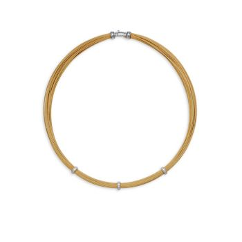 Золотистая нержавеющая сталь, белое золото 18 карат и amp; Бриллиантовое колье ALOR