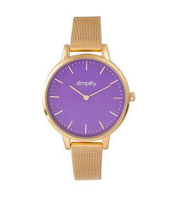 Кварц фиолетовый циферблат 5800, часы из золотого сплава 38 мм Simplify