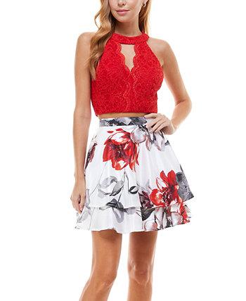 Juniors' Halter Top & Floral Skirt City Studios