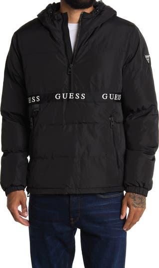 Куртка с капюшоном и логотипом на молнии до половины GUESS
