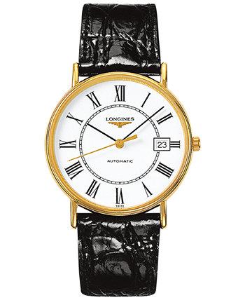 Мужские швейцарские автоматические часы Le Grande Classic Presence с черным кожаным ремешком 38 мм L49212112 Longines