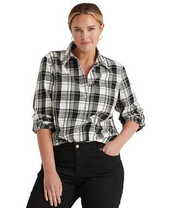 Рубашка с длинным рукавом в клетку плюс размер Ralph Lauren