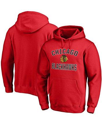Мужская толстовка с капюшоном Red Chicago Blackhawks Team Victory Arch Pullover Fanatics
