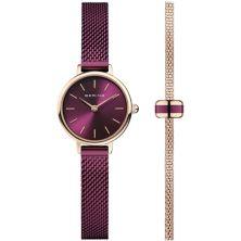 Женские часы BERING с фиолетовым сетчатым ремешком, сетчатым браслетом и подвеской - 11022-969GH1 Bering