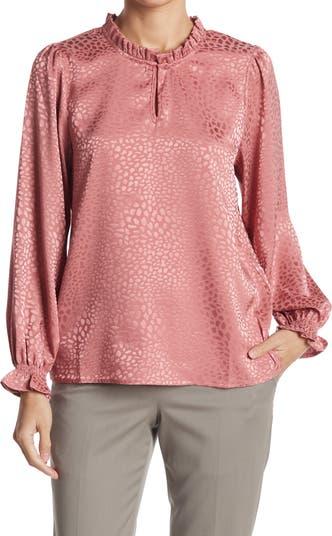Атласная жаккардовая блузка с каплевидным вырезом из жаккарда с оборками Chenault