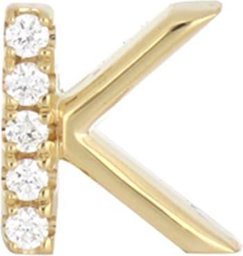 Маленькая одиночная серьга-гвоздик с паве из 18-каратного золота с бриллиантами - 0,03 карата - Доступно несколько букв Bony Levy