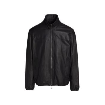 Кожаная куртка с воротником под горло Emporio Armani