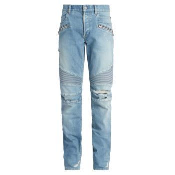 Зауженные байкерские джинсы в рубчик Balmain