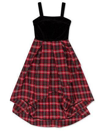Big Girls Velvet Bodice Hi-Low Plaid Dress Speechless