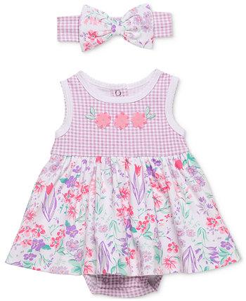 Комплект боди и повязки на голову из 2 предметов с принтом полевых цветов для маленьких девочек Baby Starters