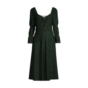 Платье-миди с многоуровневыми рукавами и цветочным принтом MICHAEL Michael Kors