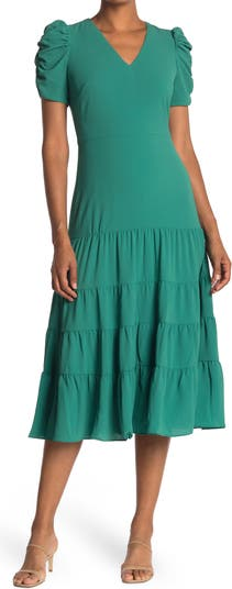 Tiered Ruched Sleeve Midi Dress Maggy London