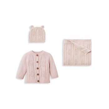 Подарочный набор для новорожденных из 3 предметов для маленьких девочек Elegant Baby