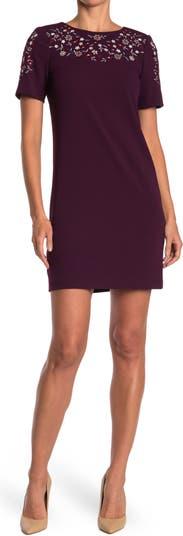Calvin Klein Floral Embroidered Sheath Dress Modern American Designer