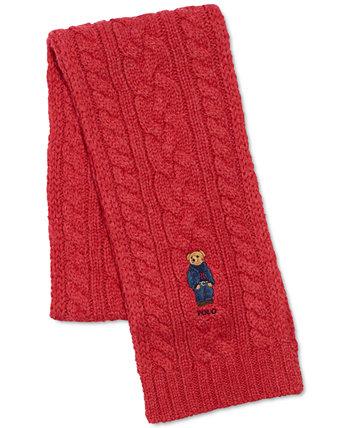 Men's Cable Knit Bear Logo Scarf Ralph Lauren