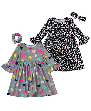 Маленькие девочки с оборками на рукавах в форме сердца и платья с цветочным рисунком и аксессуарами для волос, набор из 4 предметов Blueberi Boulevard