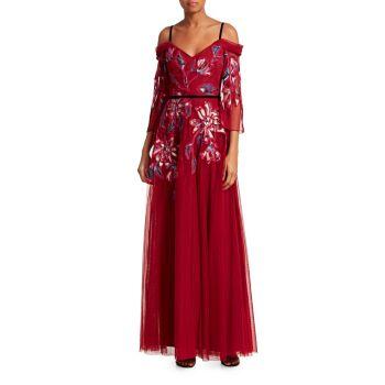 Тюлевое платье с вышивкой на холодных плечах Marchesa
