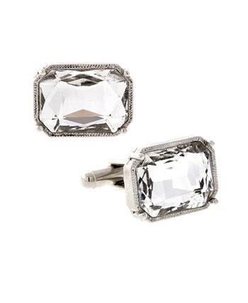 Ювелирные изделия Серебристый Прямоугольник Кристалл Запонки 1928