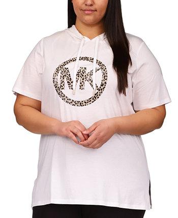 Plus Size Logo-Print Tunic Hoodie Michael Kors