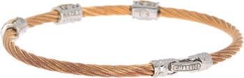 Двухцветный браслет из нержавеющей стали с бриллиантами из нержавеющей стали 18 карат с витым кабелем - 0,11 карата ALOR