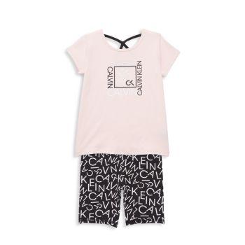 Little Girl's Performance 2-Piece Logo Top & Shorts Set Calvin Klein