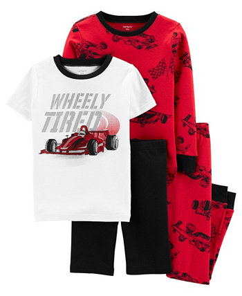 Хлопковая пижама Snug Fit Big Boys Race Car, комплект из 4 предметов Carter's