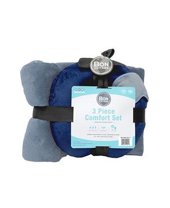 Подушка для путешествий из 3 предметов, одеяло, маска для глаз Комфортный комплект Bon Voyage