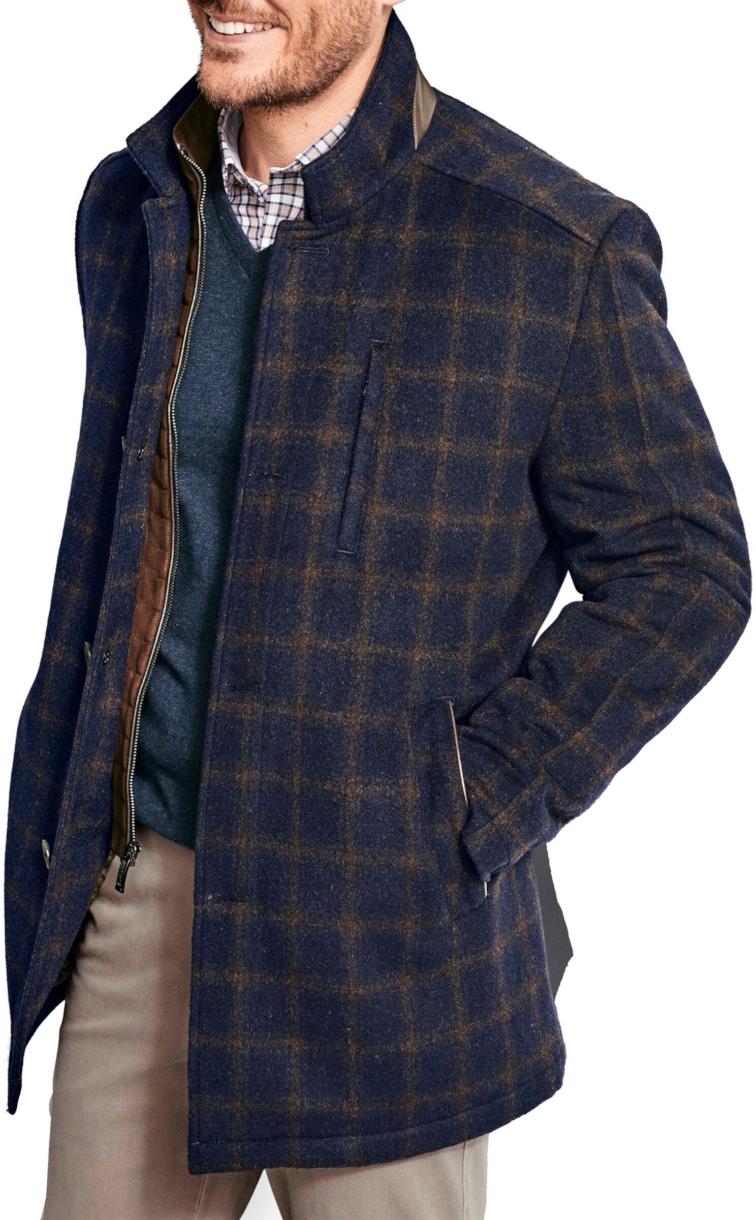 Шерстяное пальто из оконного стекла с нагрудником Johnston & Murphy