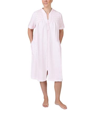 Короткий трикотажный халат на молнии с короткими рукавами Miss Elaine