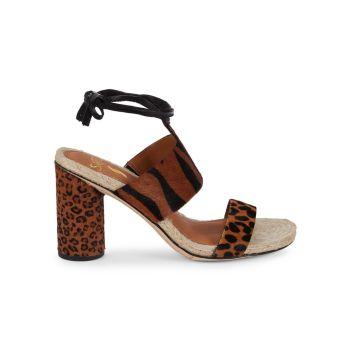 Босоножки Obi на каблуке из телячьей шерсти SARTO BY FRANCO SARTO