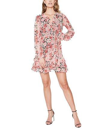 Шифоновое платье с цветочным принтом и пышной юбкой Bardot