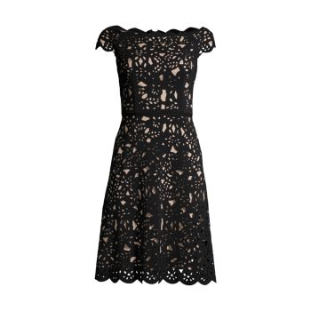 Платье с вырезом лазером с открытыми плечами SHANI