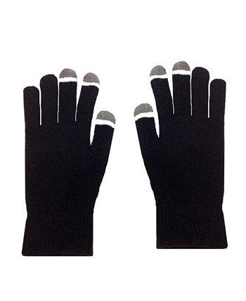 Перчатки Micro Velvet черные с сенсорным экраном и светящимися наконечниками MinxNY
