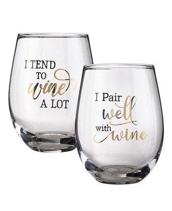Набор бокалов для вина с забавными винными высказываниями, набор из 2 шт. Lillian Rose