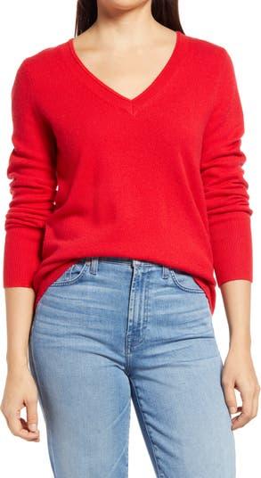 <sup> ® </sup> Кашемировый свитер с V-образным вырезом Halogen
