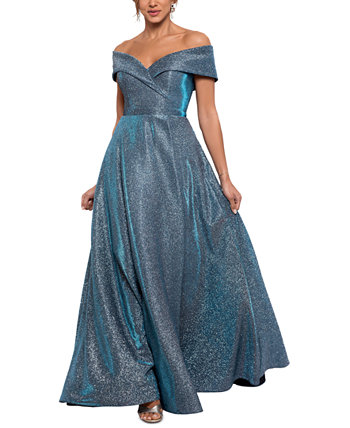 Шиммерное платье с открытыми плечами и запахом XSCAPE