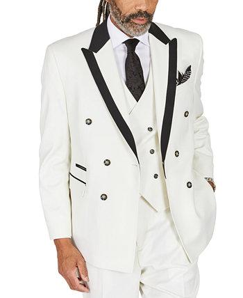Мужской однотонный белый костюм классического кроя разделяет двубортный пиджак Tayion Collection