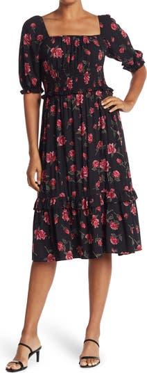 Платье со сборками с цветочным рисунком Nostalgia Apparel