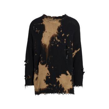 Выбеленный рваный свитер R13
