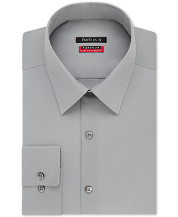 Мужская однотонная рубашка из эластичного стрейч-кроя приталенного кроя с гибким воротником Van Heusen