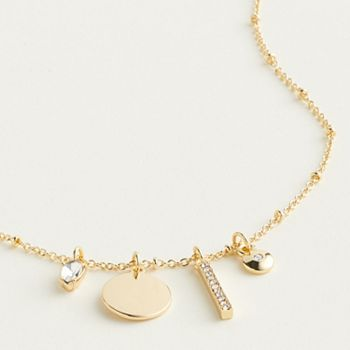 Elizabeth and James Gold Tone Simulated Crystal Charm Necklace Elizabeth and James