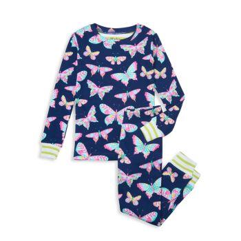 """Маленькая девочка & amp; Пижамный комплект из 2 предметов """"Восхитительные бабочки"""" для девочек <br> Hatley"""