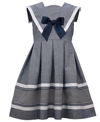 Хлопковое платье из шамбре без рукавов для маленьких девочек Bonnie Jean