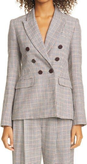 Plaid Double Breasted Silk, Linen & Wool Blazer Adam Lippes