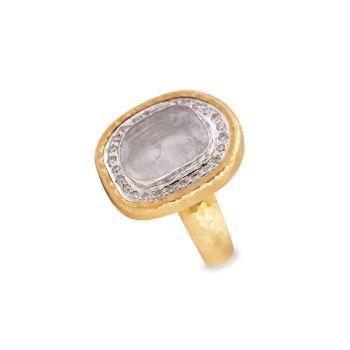 Элементы 18K & amp; 24K двухцветное золото & amp; Кольцо Diamond Slice Gurhan