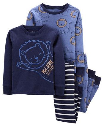 Хлопковая пижама Lion Snug Snug Fit для маленьких мальчиков, комплект из 4 предметов Carter's
