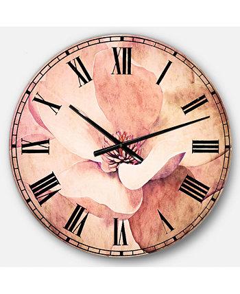 Крупные круглые металлические настенные часы с цветами Designart