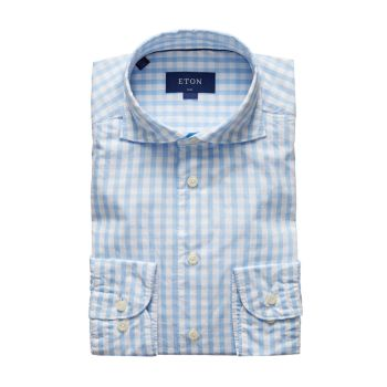 Contemporary-Fit Check Dress Shirt Eton