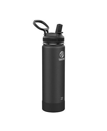 Активы из нержавеющей стали 22 унции. Изолированная бутылка для воды с соломенной крышкой Takeya