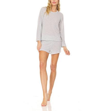 Женская футболка свободного кроя с длинным рукавом и шорты с широкой талией, удобный комплект для сна Pajama Lounge, 2 предмета Bearpaw